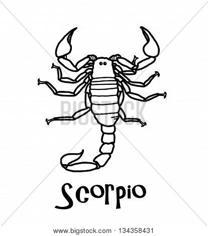 Scorpio Zodiac, a hand drawn vector cartoon doodle illustration of Scorpio zodiac, The Scorpion.