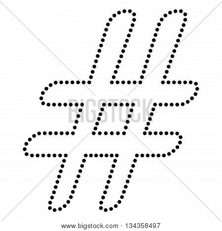 Hashtag sign illustration. Dot style or bullet style icon on white.