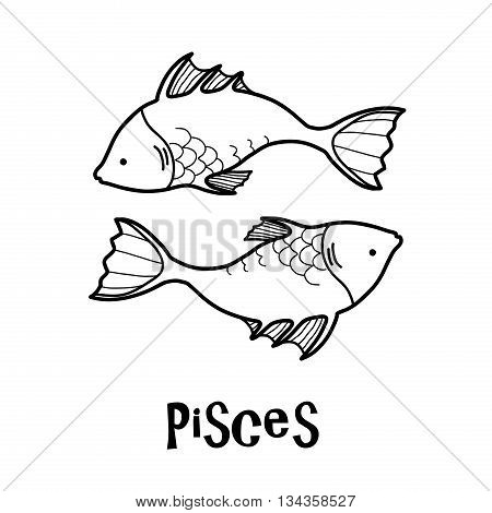 Pisces Zodiac, a hand drawn vector cartoon doodle illustration of Pisces zodiac, The Fish.