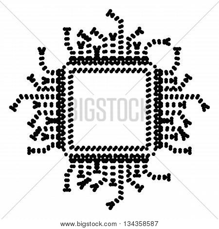 CPU Microprocessor illustration. Dot style or bullet style icon on white.