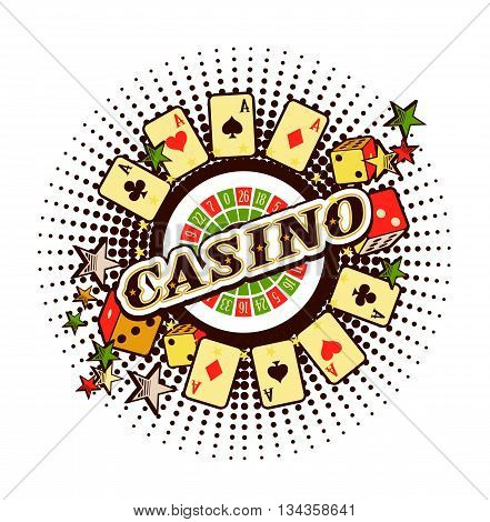 vector Casino emblem on a white background with elements of winning and luck