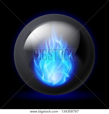 Black sphere with blue fire flames inside on dark background