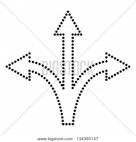 Three-way direction arrow sign. Dot style or bullet style icon on white.