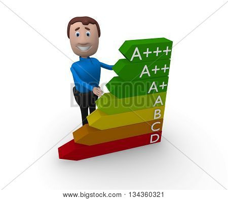 Businessman with energy classification icon on white 3d rendering