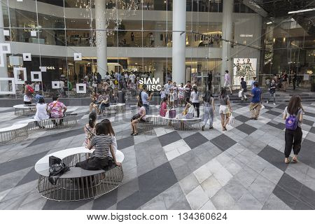 BANGKOK THAILAND - MAY 29 : activity of unidentified people in open space at Siam discovery after renovate in siam square on may 29 2016 thailand. siam discovery is popular shopping mall in siam square