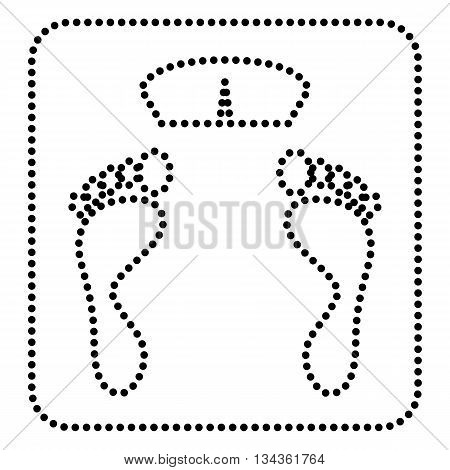 Bathroom scale sign. Dot style or bullet style icon on white.
