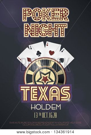 Texas Hold'em poker night invitation poster or banner template with four aces combination, lettering and casino poker chip. Vector illustration.