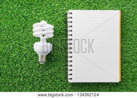 Orange notebook and lamp on green grass.
