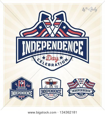 4th of July Independence day celebration badge design. Vector illustration