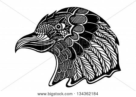 Hand Drawn Head Of Eagle.