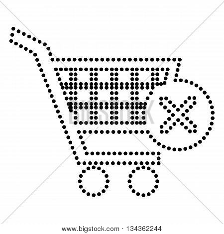 Shopping Cart with delete sign. Dot style or bullet style icon on white.