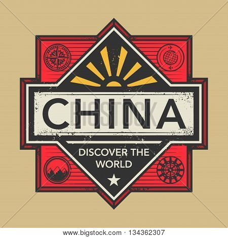 Stamp or vintage emblem with text China, Discover the World, vector illustration
