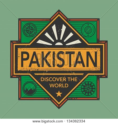 Stamp or vintage emblem with text Pakistan, Discover the World, vector illustration