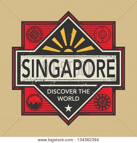 Stamp or vintage emblem with text Singapore, Discover the World, vector illustration