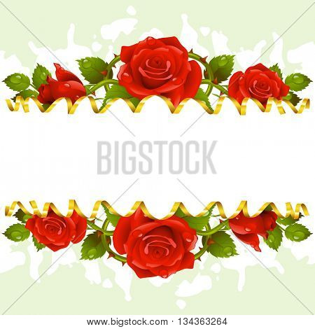 Vector horizontal frame whith red roses and golden ribbon