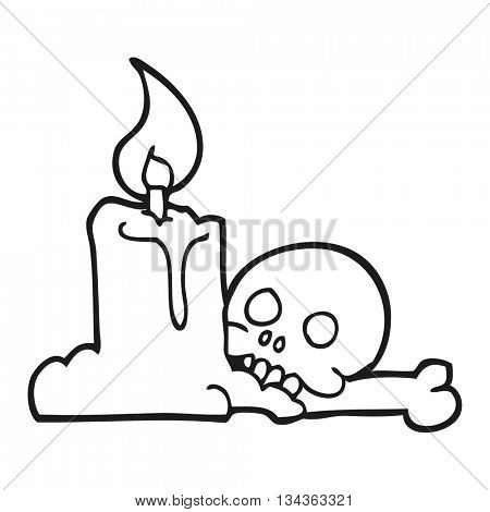 freehand drawn black and white cartoon spooky skull and candle
