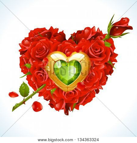Vector red Roses, golden jewel and green crystal in the shape of heart with flower arrow