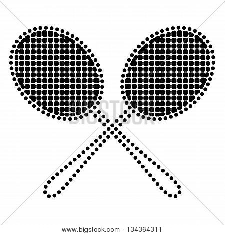 Tennis racquets sign. Dot style or bullet style icon on white.