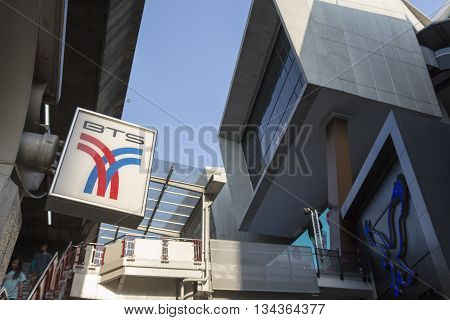 BANGKOK THAILAND - APRIL 24 : sign of BTS Bangkok public transport at BTS siam station on april 24 2016 thailand. BTS Bangkok Mass Transit System accommodate over 700000 passenger per day