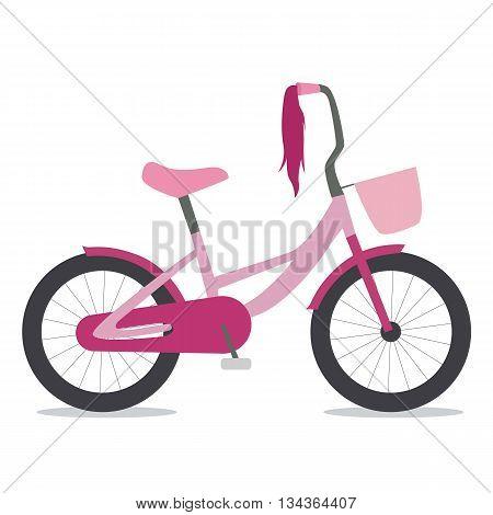 Flat illustration of children bike for girls with basket