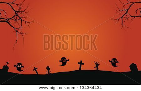 Silhouette of ghost in graves halloween backgrounds scary