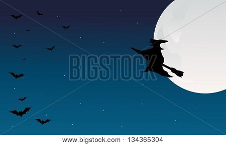 Silhouette of halloween witch and bat flying at night