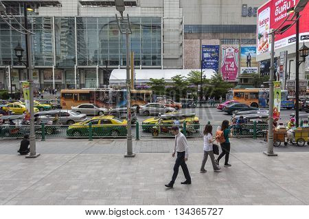 BANGKOK THAILAND - MAY 22 : people on pedestrian in Ratchaprasong area on may 22 2016 thailand. Ratchaprasong is one of is famous landmark of Bangkok