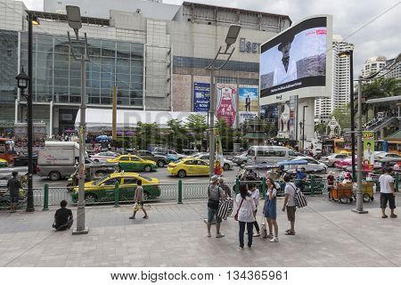 BANGKOK THAILAND - MAY 22 : people on pedestrian in front of Big C Supercenter in Ratchaprasong area on may 22 2016 thailand. Ratchaprasong is one of is famous landmark of Bangkok