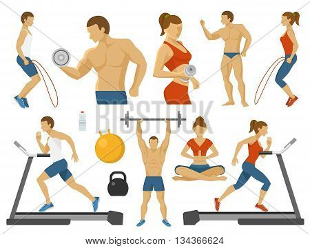 Fitness decorative flat icons set with man woman treadmill ball water weight yoga dumbbell isolated vector illustration