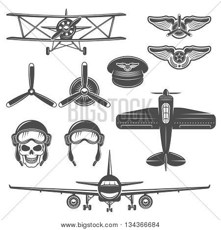 Airplane black color icon set equipment and types of airplanes on white background isolated vector illustration