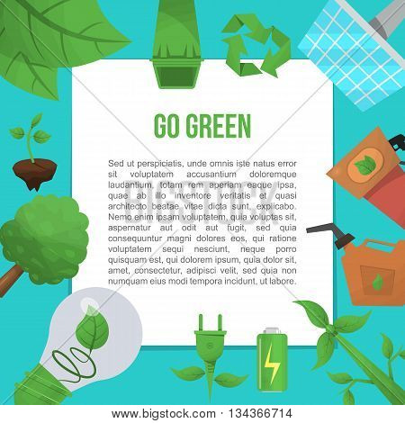 Ecology flat poster it urges to save the planet and herbs on the planet not pollute vector illustration
