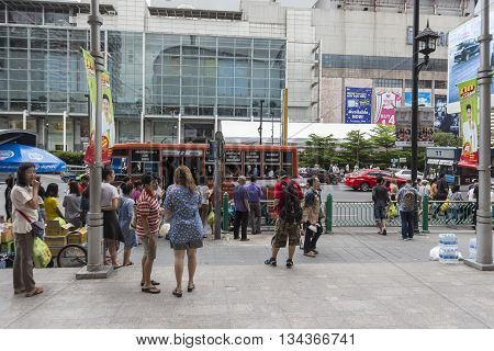 BANGKOK THAILAND - MAY 22 : unidentified people at bus stop in front of Big C Supercenter in Ratchaprasong area on may 22 2016 thailand. Ratchaprasong is one of is famous landmark of Bangkok