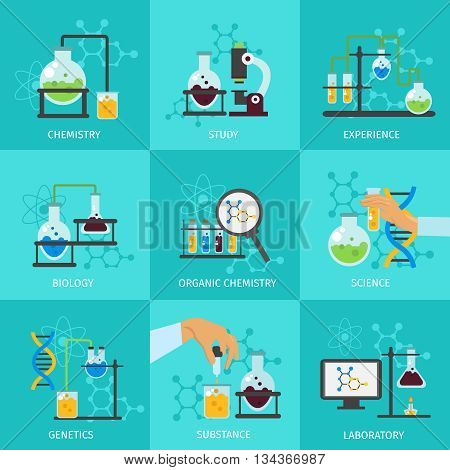 Chemical experimental icon set with descriptions of chemistry study experience biology organic chemistry science laboratory vector illustration