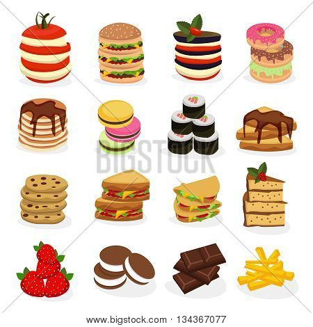 Meal tower icon set with different types of food folded in towers form vector illustration