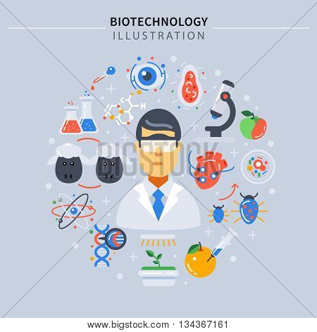 Biotechnology colored composition with science icon set around scientist on gray background vector illustration
