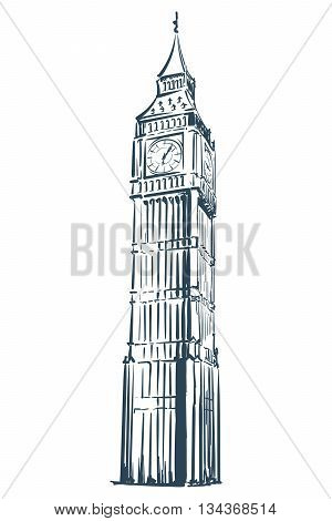 Big Ben drawn in a simple sketch style. Isolated contour on white background. EPS8 vector illustration.