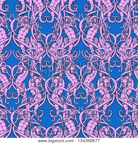 Seahorses hiding among chaotically interlaced seaweeds. Seamless pattern. EPS10 vector illustration.