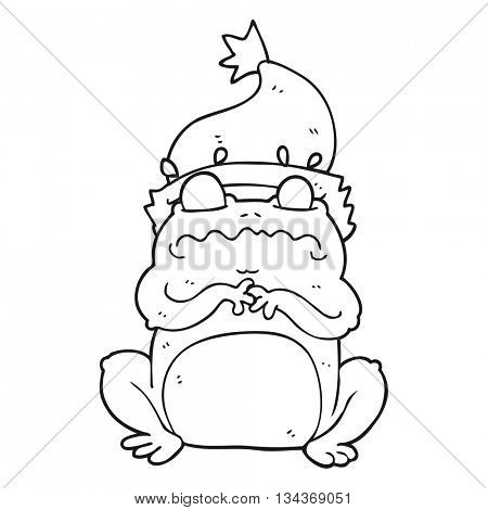freehand drawn black and white cartoon frog in christmas hat
