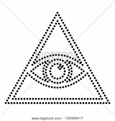 All seeing eye pyramid symbol. Freemason and spiritual. Dot style or bullet style icon on white.
