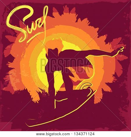Silhouette of surfing boy on a silhouette of palm trees. Purple background. Vintage surfing design. EPS10 vector illustration.