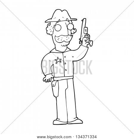 freehand drawn black and white cartoon sheriff