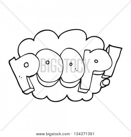 freehand drawn black and white cartoon poop! text