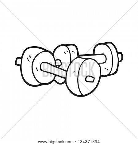freehand drawn black and white cartoon dumbbells