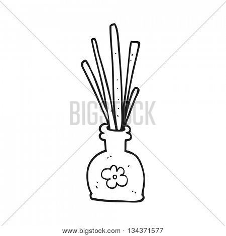 freehand drawn black and white cartoon fragrance oil reeds