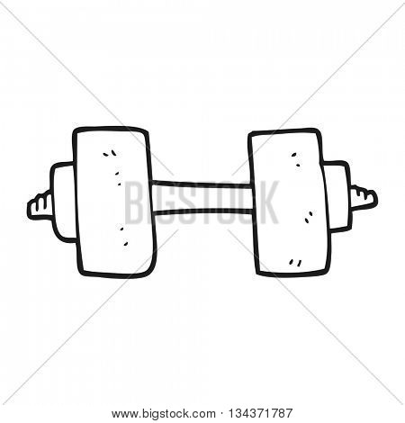 freehand drawn black and white cartoon dumbbell