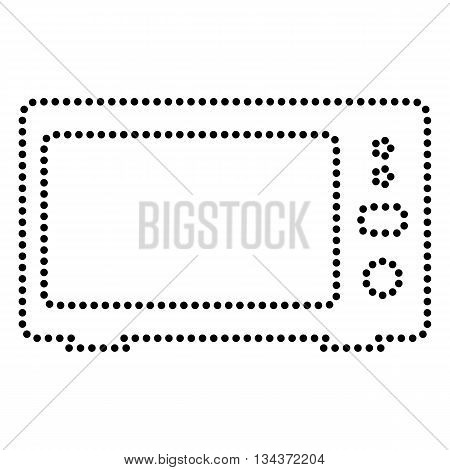 Microwave sign illustration. Dot style or bullet style icon on white.