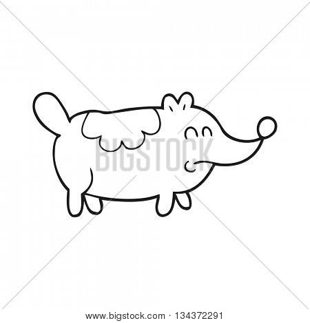 freehand drawn black and white cartoon small fat dog