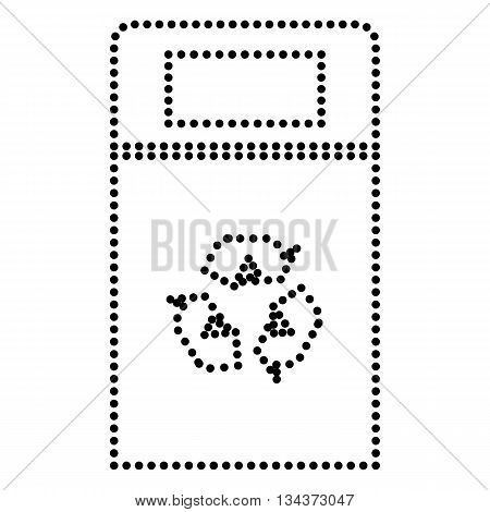 Trashcan sign illustration. Dot style or bullet style icon on white.