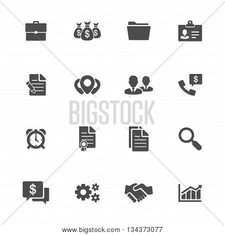 Business icons vector flat set of 16