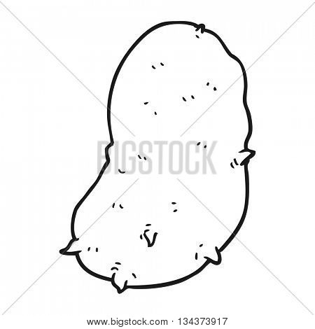 freehand drawn black and white cartoon potato